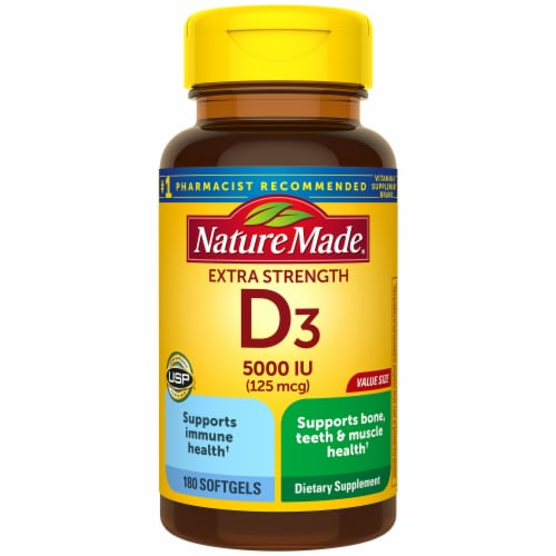 Nature Made Extra Strength Vitamin D3 Softgels 5000 IU Perspective: front
