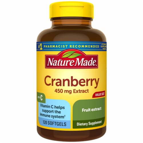 Nature Made Cranberry Extract with Vitamin C Dietary Supplement Softgels 450mg Perspective: front