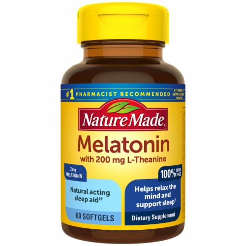 Nature Made Melatonin + 200mg L-Theanine Softgels 3mg Perspective: front