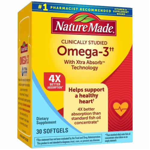 Nature Made Omega-3 Xtra Absorb Technology Softgels 500mg 30 Count Perspective: front