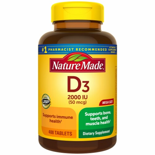 Nature Made Vitamin D3 Tablets 2000 IU Perspective: front