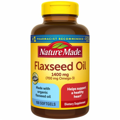 Nature Made Flaxseed Oil Omega 3-6-9 Softgels 1400 mg Perspective: front