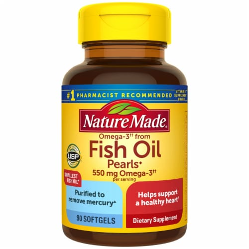 Nature Made Fish Oil Pearls 500 mg Softgels Perspective: front