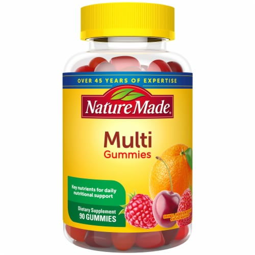 Nature Made Multivitamin Orange Cherry & Mixed Berry Flavored Adult Gummies Perspective: front