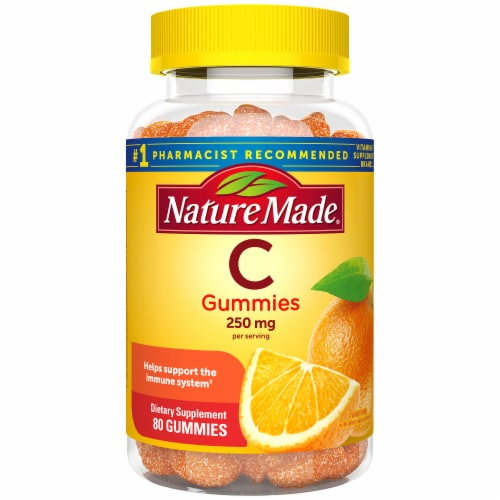 Nature Made Vitamin C Tangerine Flavored Adult Gummies 250mg 80 Count Perspective: front