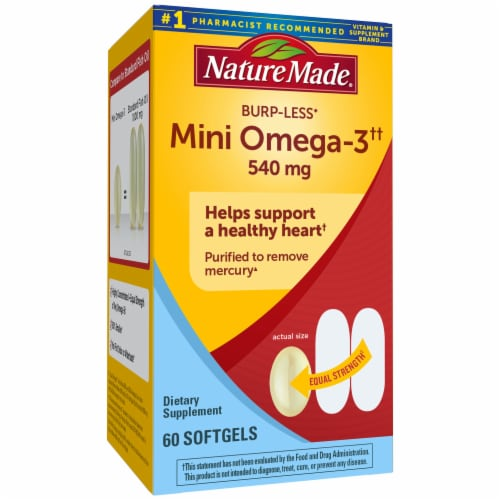Nature Made Full Strength Mini Omega-3 Softgels 540mg Perspective: front