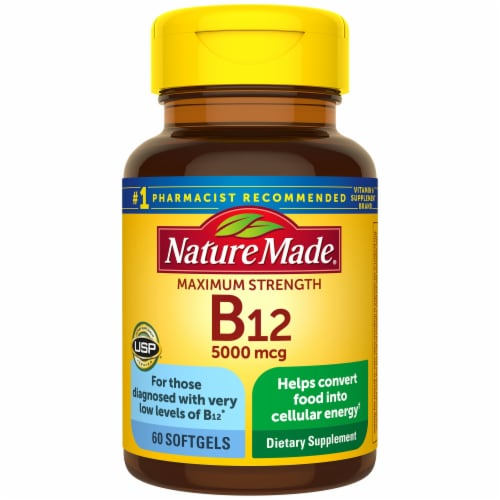 Nature Made Maximum Strength B-12 5000mcg Softgels Perspective: front