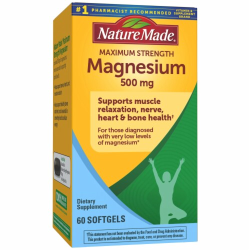 Nature Made Maximum Strength Magnesium Softgels 500mg 60 Count Perspective: front