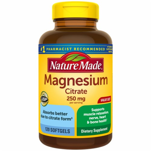 Nature Made Magnesium Citrate Soft Gels 250mg Perspective: front