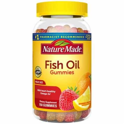 Nature Made Orange Lemon and Strawberry Adult Fish Oil Gummies Perspective: front