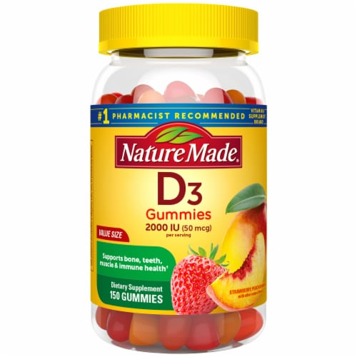 Nature Made Vitamin D3 Strawberry Peach and Mango Flavored Gummies Value Size 50mcg Perspective: front