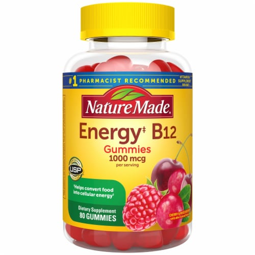Nature Made Energy B12 Cherry & Mixed Berries Flavored Gummies 1000mcg 80 Count Perspective: front