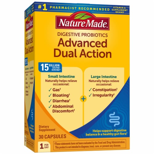 Nature Made Advanced Dual Action Digestive Probiotic Capsules Perspective: front