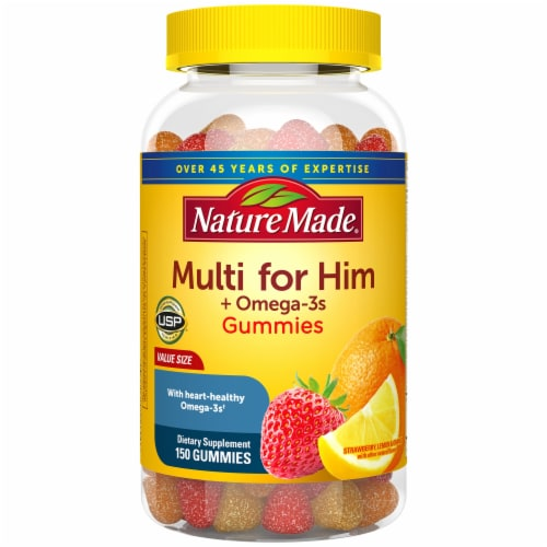 Nature Made Strawberry Lemon & Orange Multi for Him Adult Gummies Perspective: front