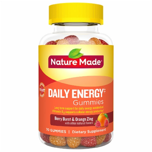 Nature Made Berry Burst & Orange Zing Daily Energy Adult Gummies Perspective: front