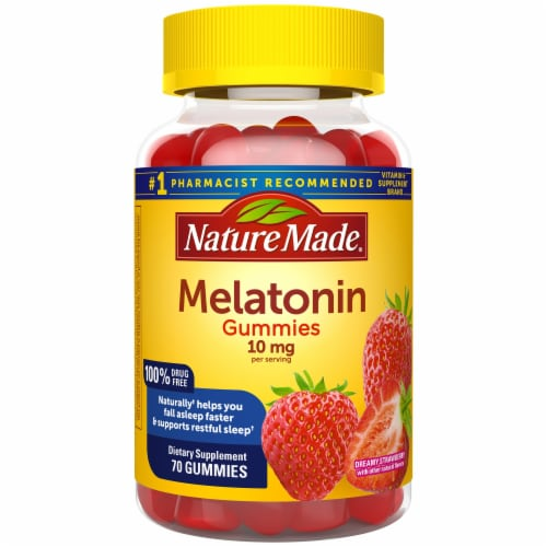 Nature Made Dreamy Strawberry 10mg Melatonin Gummies Perspective: front