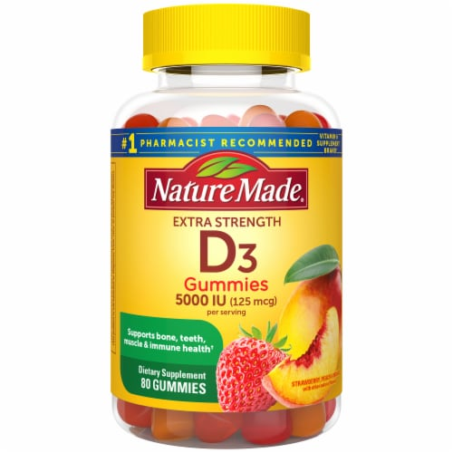 Nature Made Extra Strength Vitamin D3 Strawberry Peach & Mango Flavored Gummies 125mcg Perspective: front