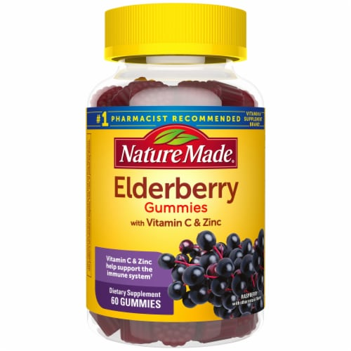 Nature Made Elderberry Raspberry Flavored Dietary Supplement Gummies 100mg Perspective: front