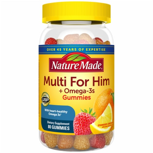 Nature Made Strawberry Lemon & Orange Multi for Him + Omega-3 Gummies Perspective: front