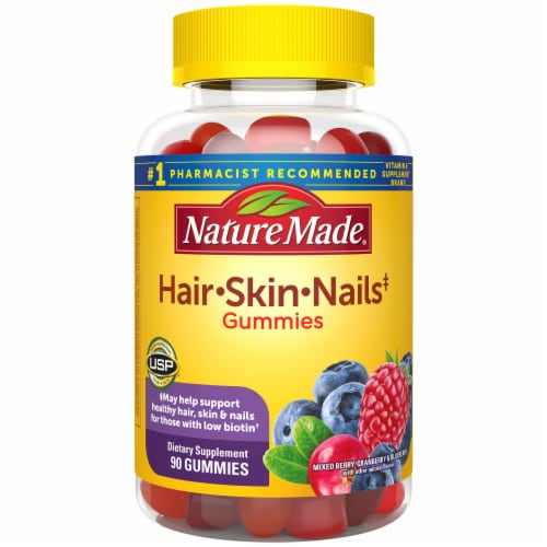 Nature Made Hair Skin & Nails Mixed Berry Cranberry & Blueberry Flavored Gummies Perspective: front