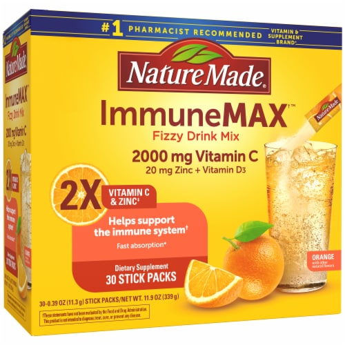 Nature Made Immune Max Orange Flavored Fizzy Drink Mix Packets Perspective: front