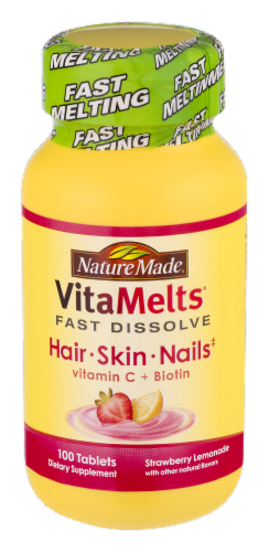 Nature Made Vitamelts Hair Skin Nails Vitamin C Biotin Fast Dissolve Tablets Image Perspective