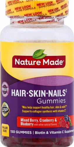 Nature Made Hair Skin Nails Mixed Berry Cranberry & Blueberry Gummies Perspective: front