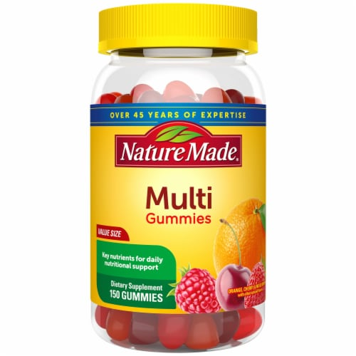Nature Made Orange Cherry and Mixed Berry Adult Multi-Vitamin Gummies Value Size Perspective: front