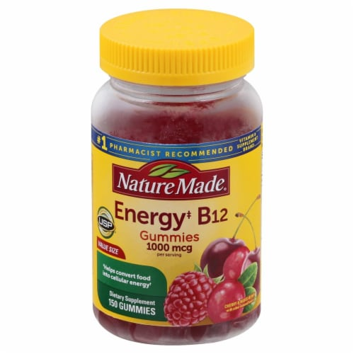 Nature Made Energy B12 Cherry & Mixed Berries Adult Gummies 1000mcg 150 Count Perspective: front