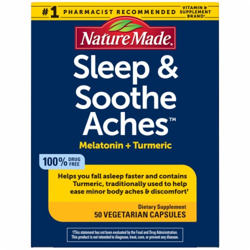 Nature Made® Sleep & Soothe Aches™ Melatonin + Tumeric Vegetarian Capsules Perspective: front