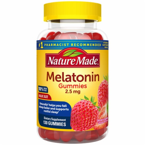 Nature Made Strawberry Melatonin Dietary Supplement Gummies Perspective: front