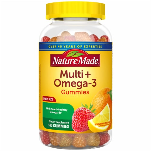 Nature Made Multi+Omega-3 Strawberry Lemon & Orange Gummies Perspective: front