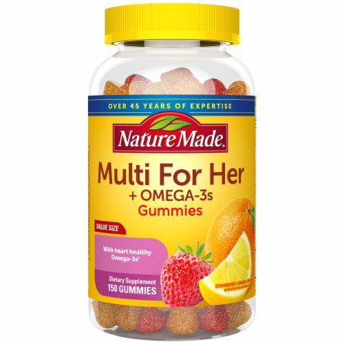 Nature Made Multi for Her Omega-3 Lemon Orange & Strawberry Gummies Perspective: front