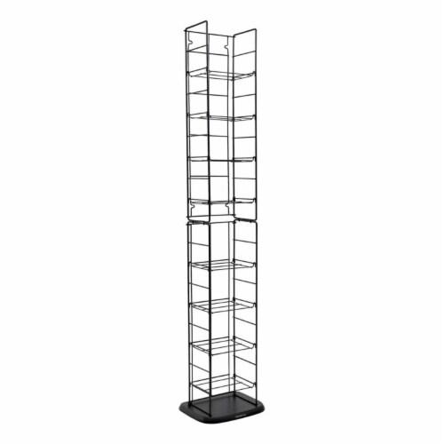 Atlantic Inc 53  8 Adjustable Shelf Media Rack in Black Perspective: front