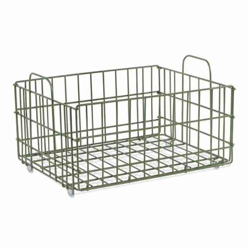 Atlantic 23308042 Cart System Wire Basket, Green Perspective: front