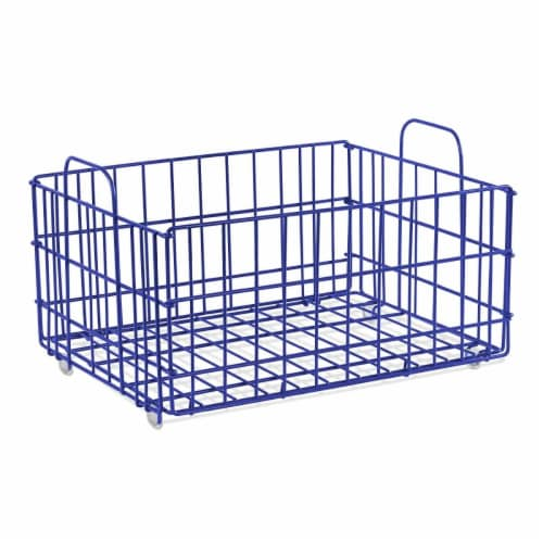 Atlantic 23308043 Cart System Wire Basket, Blue Perspective: front