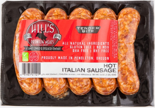 Hill's Premium Meats Hot Italian Sausage Links Perspective: front