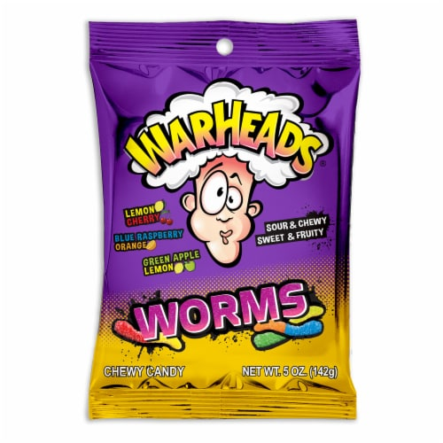 Warheads Sour & Chewy Gummy Worms Perspective: front