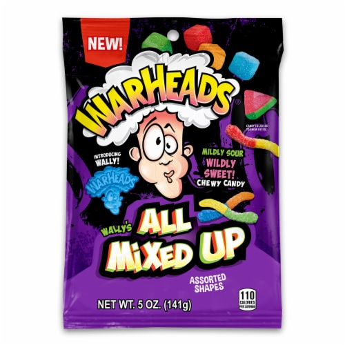 Warheads All Mixed Up Assorted Shapes Chewy Candy Perspective: front