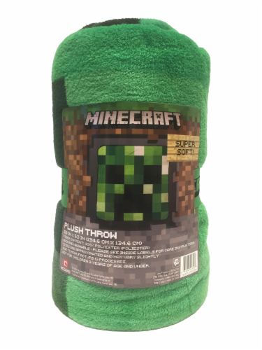 Minecraft Plush Throw - Green Perspective: front