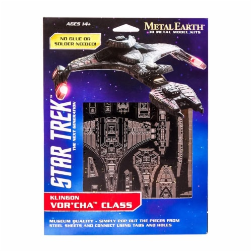 Metal Earth Star Trek Klingon Vor'Cha Class Model Kit Perspective: front