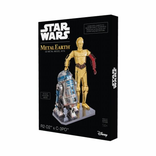 Fascinations Metal Earth Star Wars R2-D2 & C-3PO 3D Metal Model Kit Perspective: front