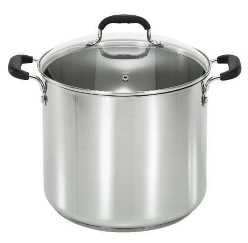 T-Fal Specialty Stainless Steel Stock Pot with Lid - Silver- 12 Quart Perspective: front