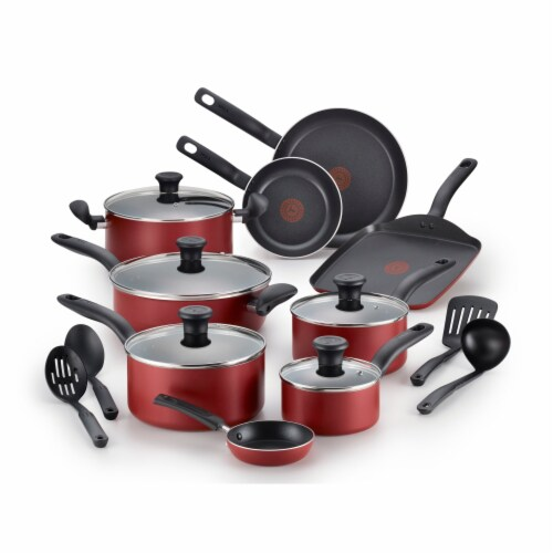 T-fal Initiatives Nonstick Cooking Set - Red/Black Perspective: front