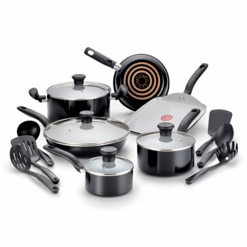 T-fal Initiatives Ceramic Cookware Set - White/Black Perspective: front