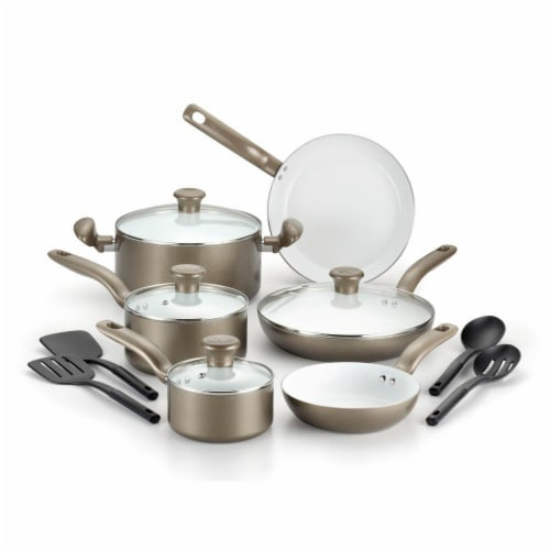 T-fal Initiatives Ceramic Cookware Set - Metallic Champagne Perspective: front