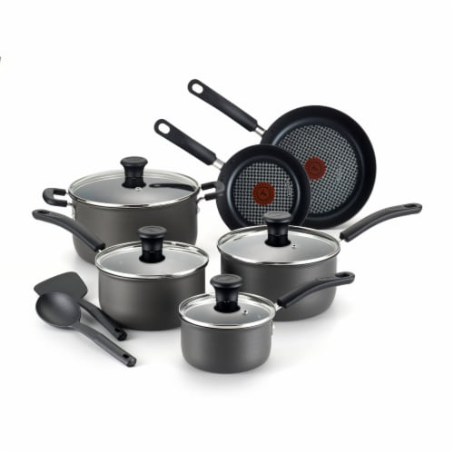 T-Fal Signature Hard Anodized Cooking Set - Black Perspective: front