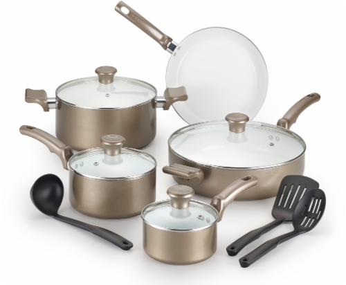 T-fal Ceramic Chef Cookware Set - Bronze/White Perspective: front