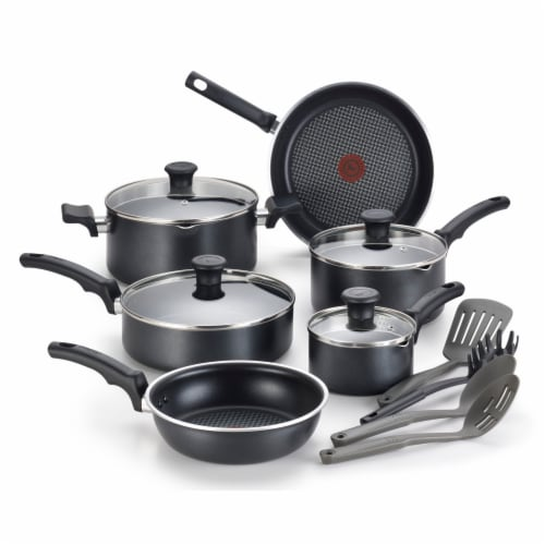 T-fal Comfort Nonstick Cookware Set - Black Perspective: front