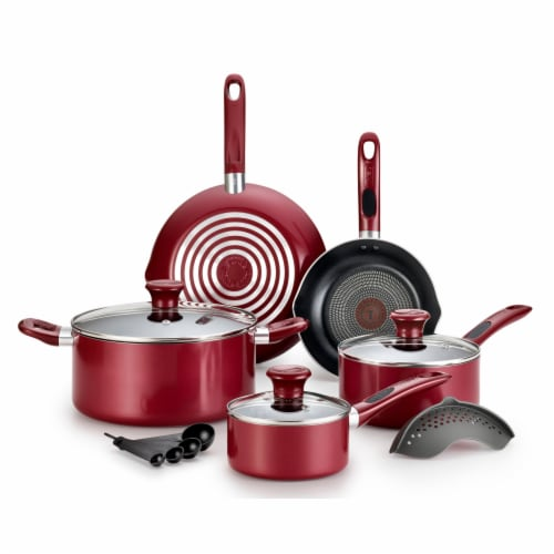 T-fal Excite Non-stick Cookware Set - Red Perspective: front